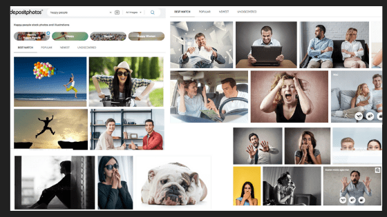 Stock photos showing expressions in action